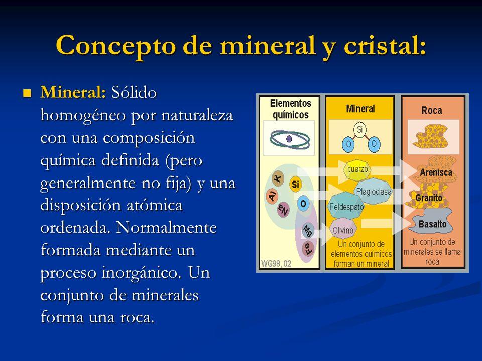Concepto de mineral y cristal: