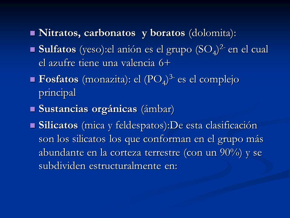 Nitratos, carbonatos y boratos (dolomita):