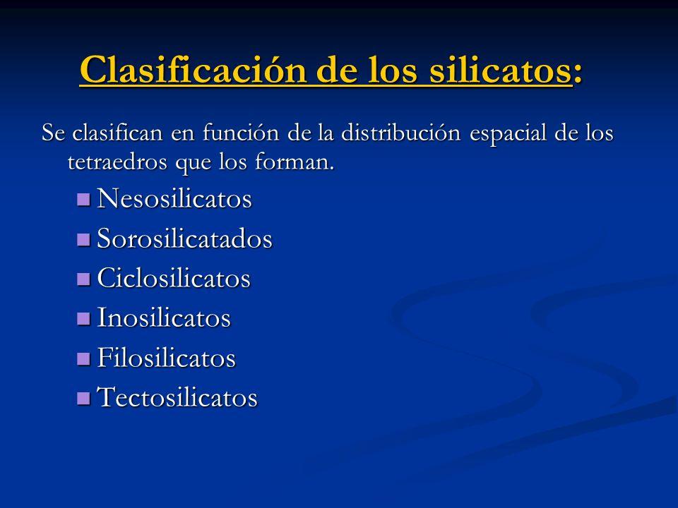 Clasificación de los silicatos: