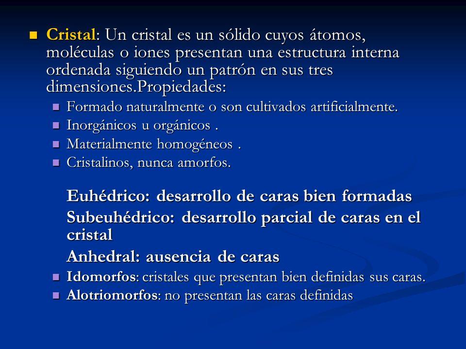 Subeuhédrico: desarrollo parcial de caras en el cristal