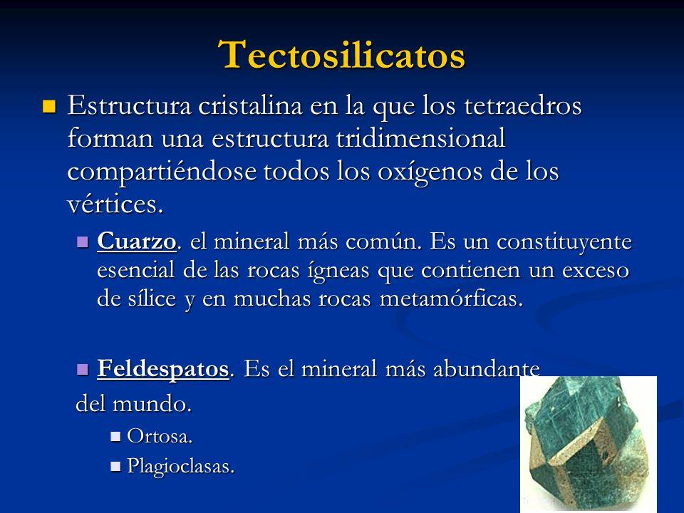 Tectosilicatos Estructura cristalina en la que los tetraedros forman una estructura tridimensional compartiéndose todos los oxígenos de los vértices.