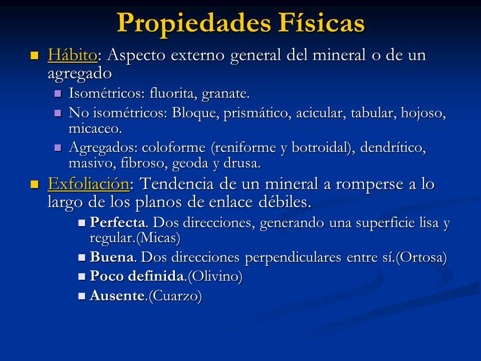 Propiedades Físicas Hábito: Aspecto externo general del mineral o de un agregado. Isométricos: fluorita, granate.