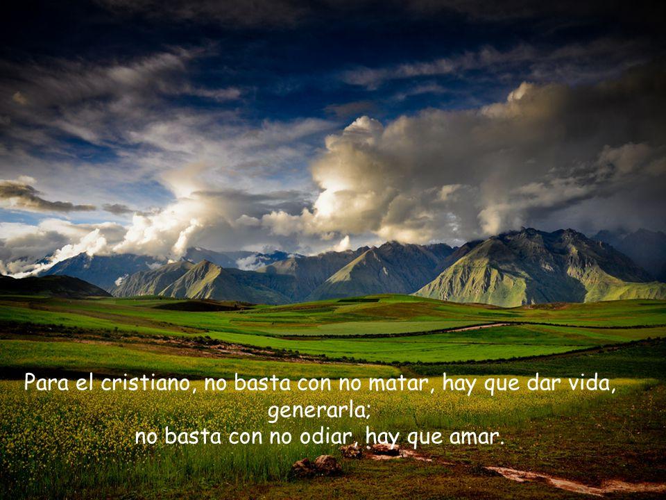 Para el cristiano, no basta con no matar, hay que dar vida, generarla; no basta con no odiar, hay que amar.