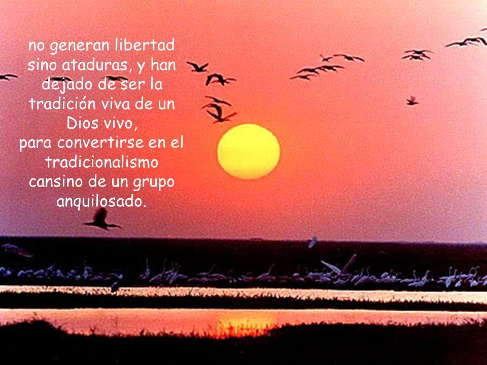 no generan libertad sino ataduras, y han dejado de ser la tradición viva de un Dios vivo,