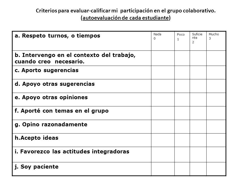 Criterios para evaluar-calificar mi participación en el grupo colaborativo. (autoevaluación de cada estudiante)