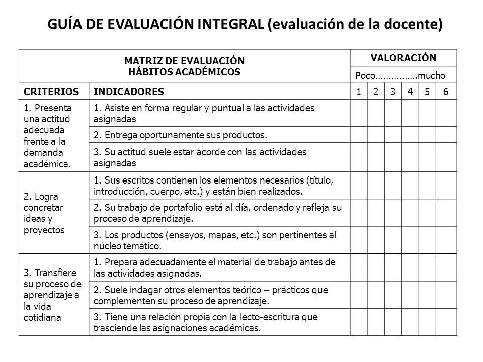 GUÍA DE EVALUACIÓN INTEGRAL (evaluación de la docente)