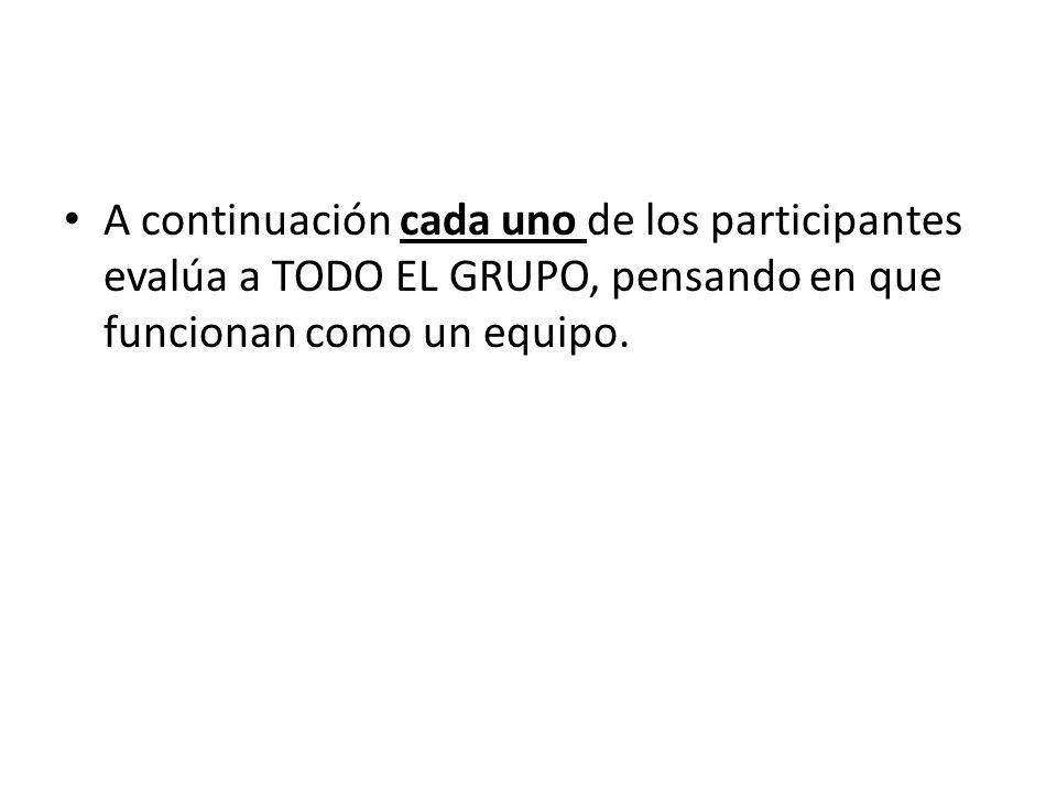 A continuación cada uno de los participantes evalúa a TODO EL GRUPO, pensando en que funcionan como un equipo.