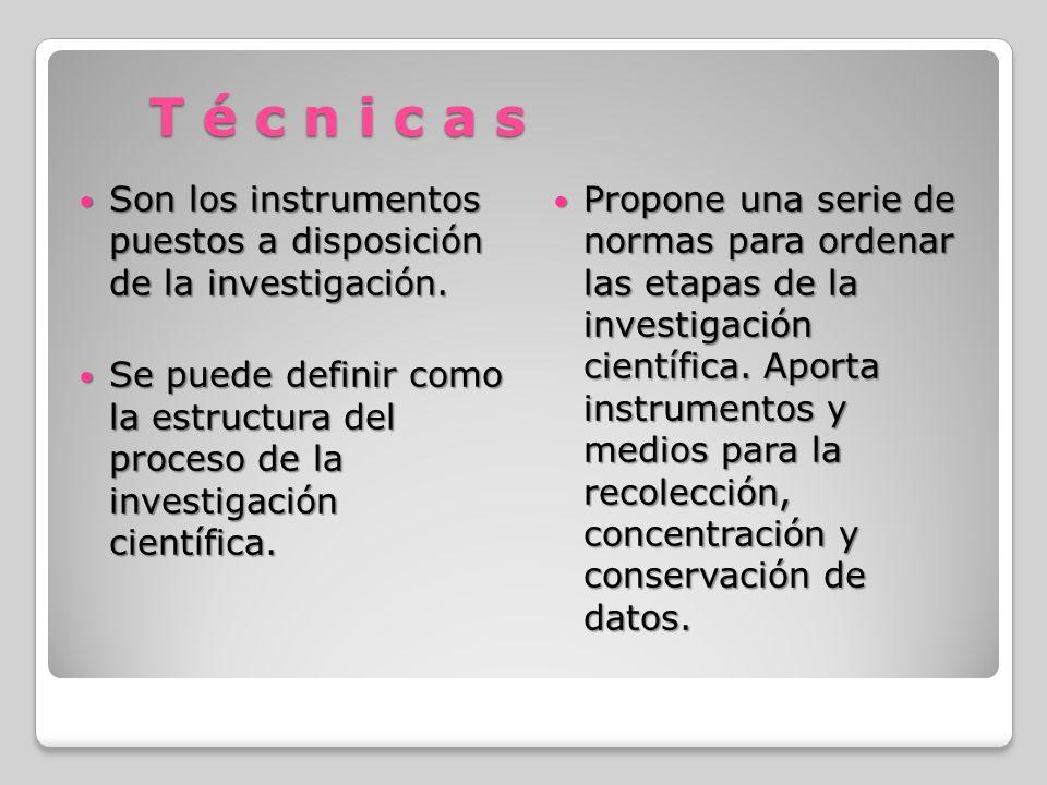 T é c n i c a s Son los instrumentos puestos a disposición de la investigación.