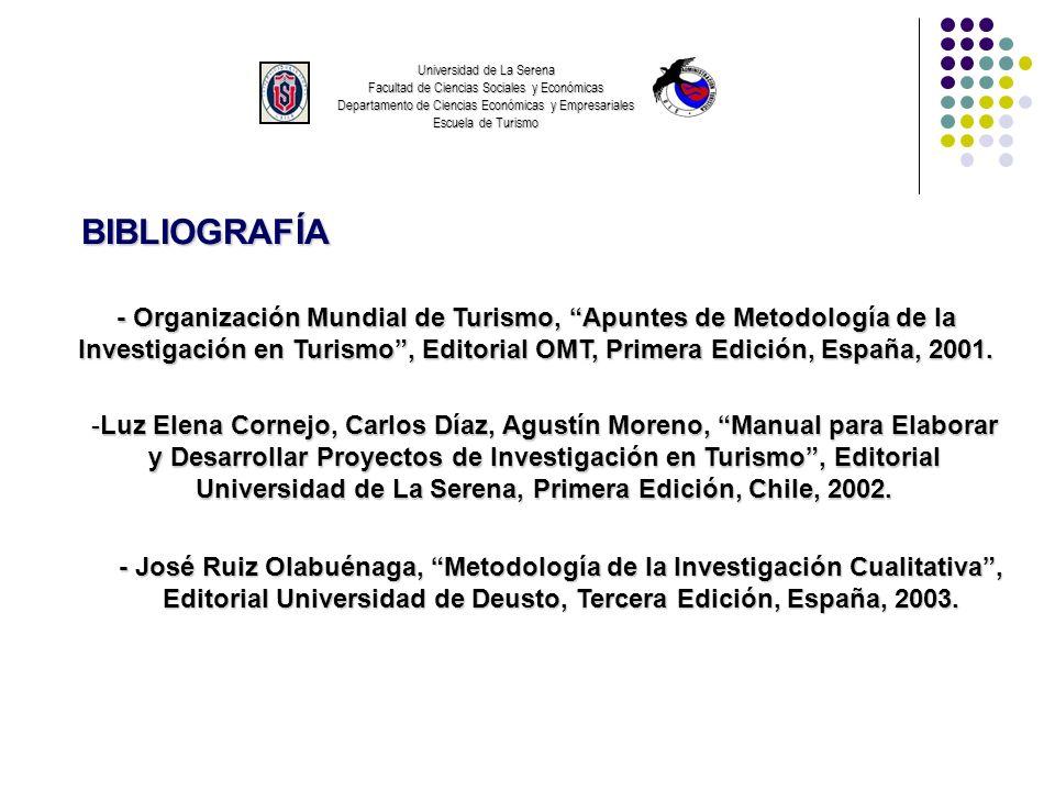 Universidad de La Serena Facultad de Ciencias Sociales y Económicas Departamento de Ciencias Económicas y Empresariales Escuela de Turismo
