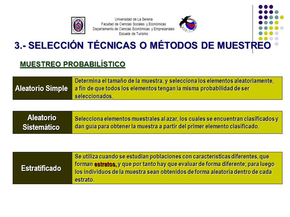 3.- SELECCIÓN TÉCNICAS O MÉTODOS DE MUESTREO