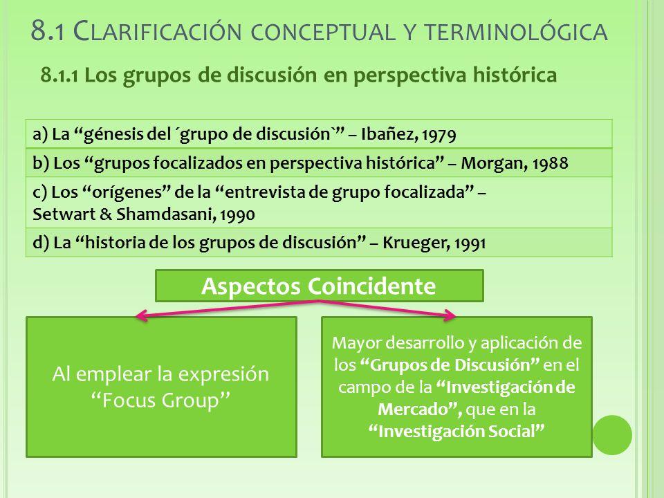 8.1 Clarificación conceptual y terminológica