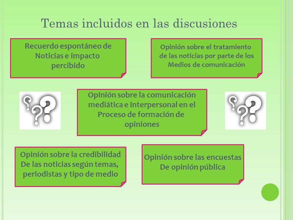 Temas incluidos en las discusiones