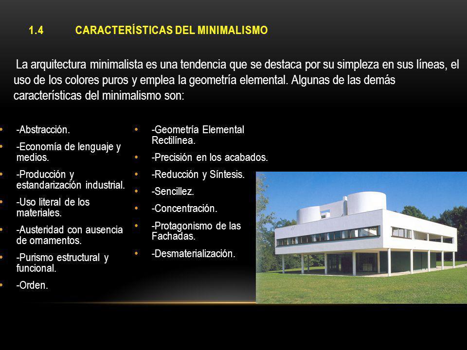 1.4 CARACTERÍSTICAS DEL MINIMALISMO