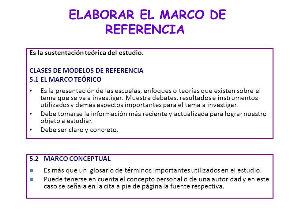 ELABORAR EL MARCO DE REFERENCIA