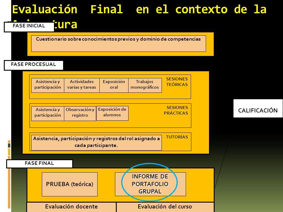 Evaluación Final en el contexto de la Asignatura