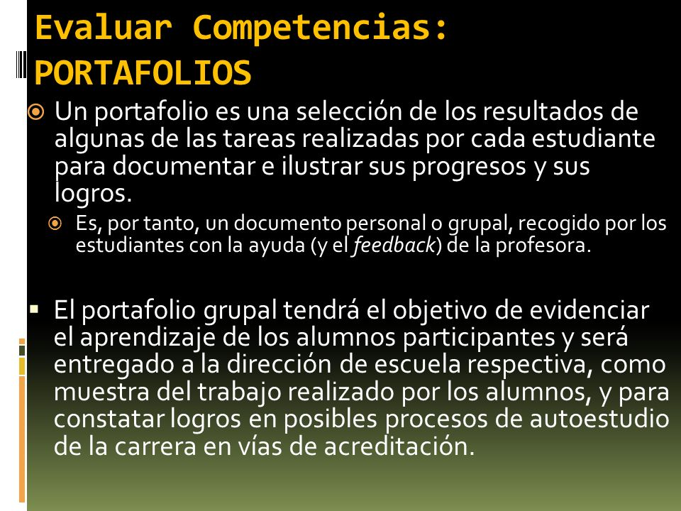 Evaluar Competencias: PORTAFOLIOS