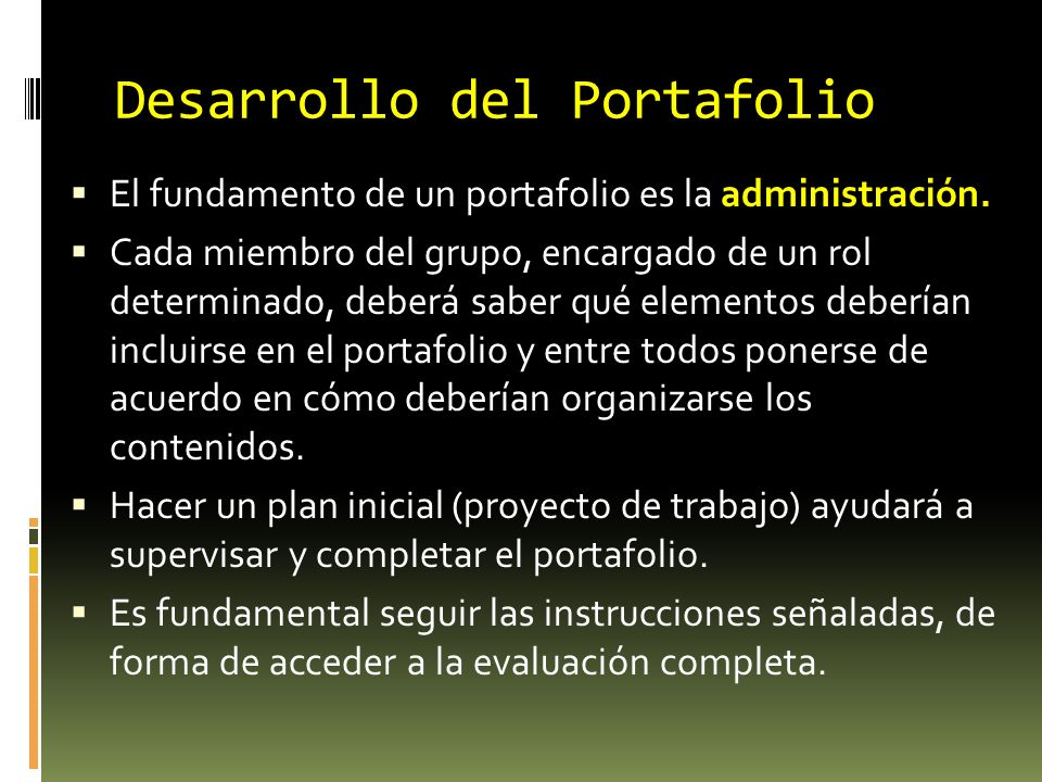 Desarrollo del Portafolio