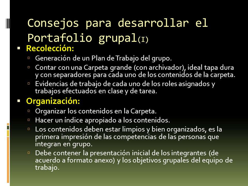 Consejos para desarrollar el Portafolio grupal(I)