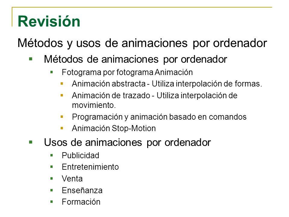 Revisión Métodos y usos de animaciones por ordenador
