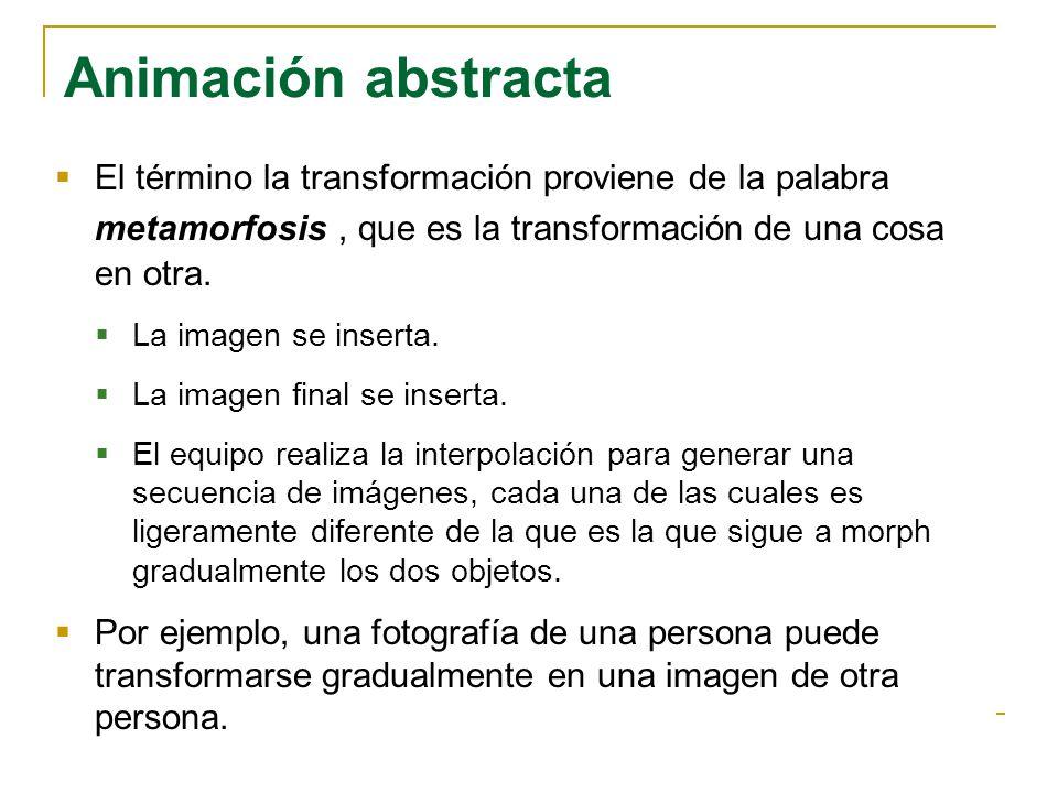 Animación abstracta El término la transformación proviene de la palabra metamorfosis , que es la transformación de una cosa en otra.