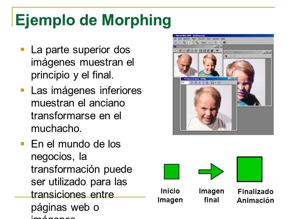 Ejemplo de Morphing La parte superior dos imágenes muestran el principio y el final.