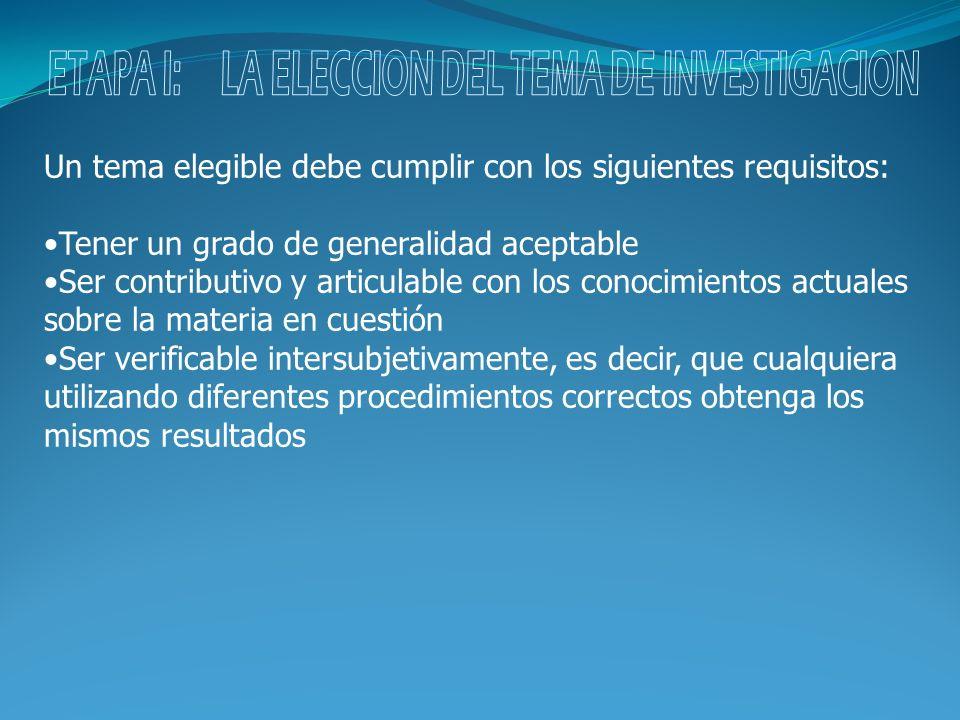 ETAPA I: LA ELECCION DEL TEMA DE INVESTIGACION