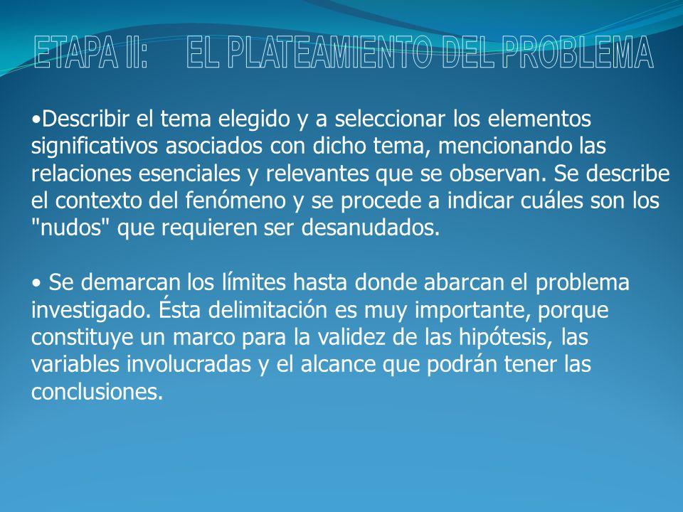 ETAPA II: EL PLATEAMIENTO DEL PROBLEMA