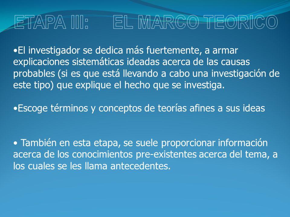 ETAPA III: EL MARCO TEORICO