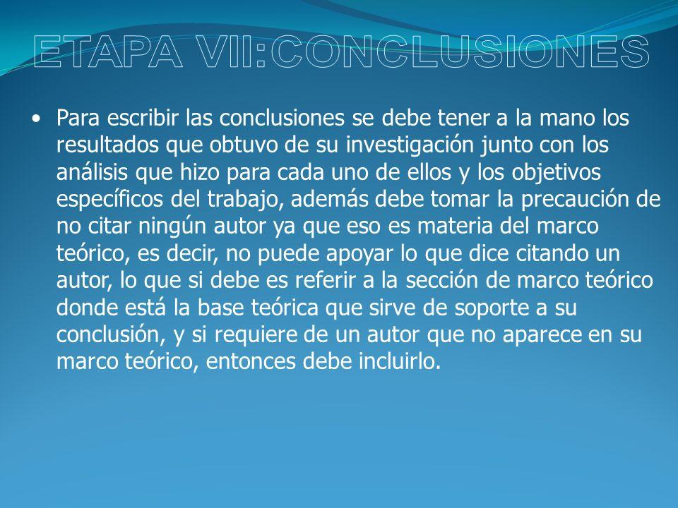ETAPA VII:CONCLUSIONES