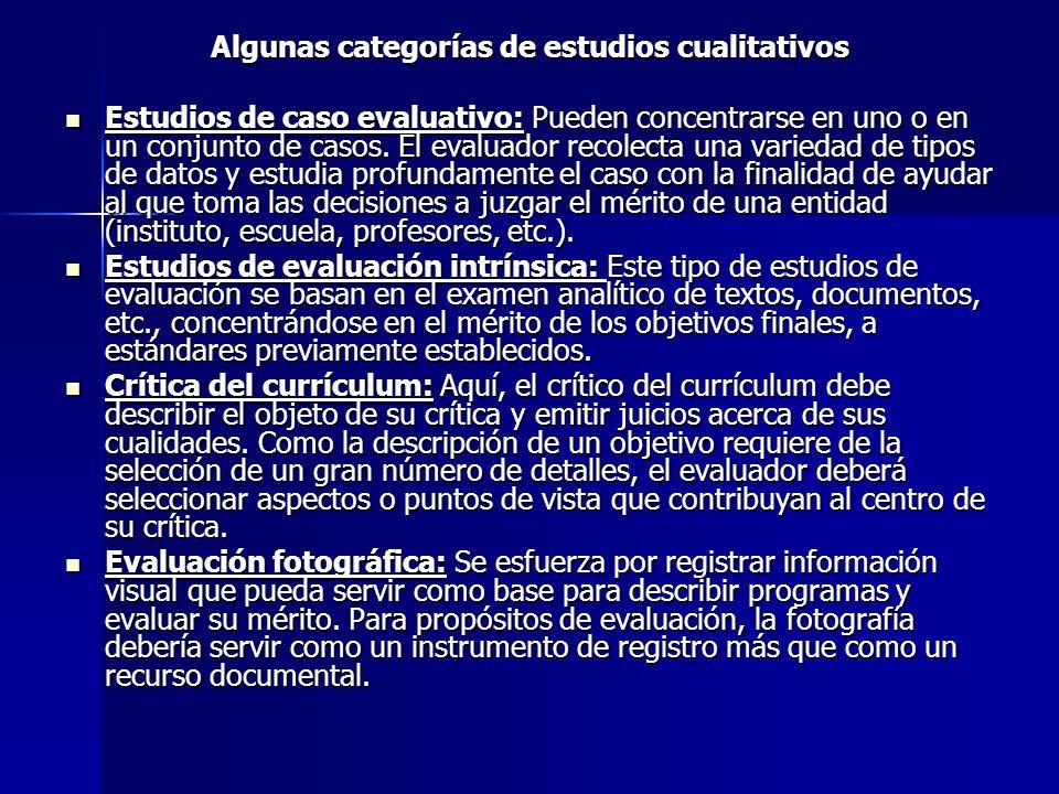 Algunas categorías de estudios cualitativos