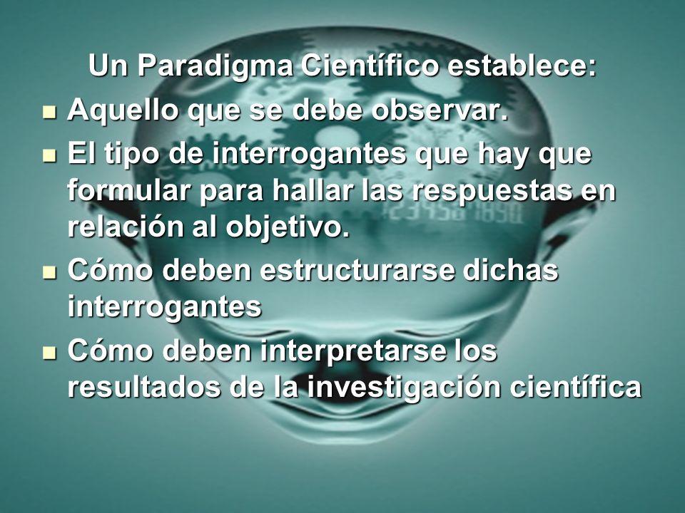 Un Paradigma Científico establece: