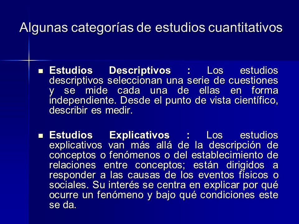 Algunas categorías de estudios cuantitativos
