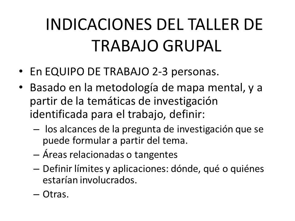 INDICACIONES DEL TALLER DE