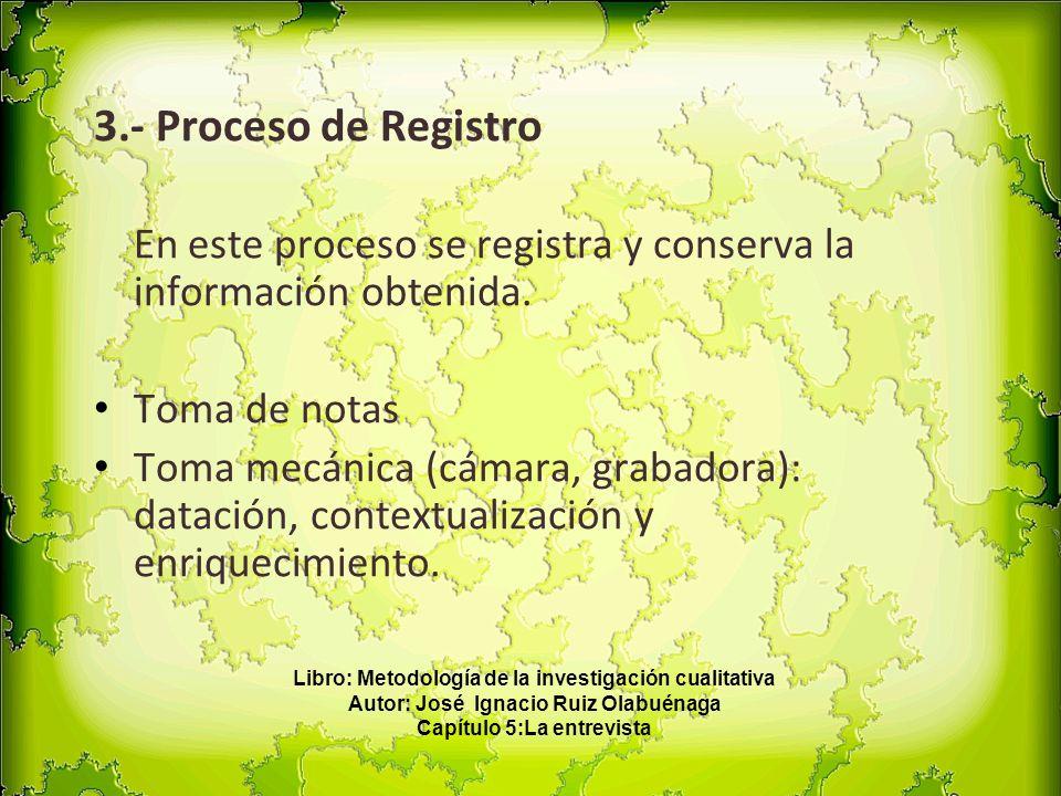 3.- Proceso de Registro En este proceso se registra y conserva la información obtenida. Toma de notas.