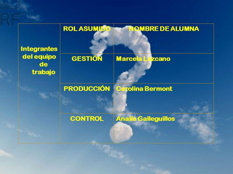 Integrantes del equipo de trabajo. ROL ASUMIDO. NOMBRE DE ALUMNA. GESTIÓN. Marcela Lazcano. PRODUCCIÓN.
