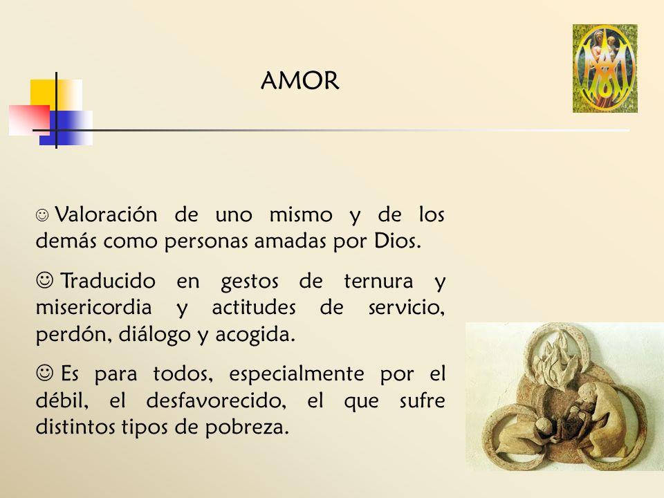 AMOR Valoración de uno mismo y de los demás como personas amadas por Dios.