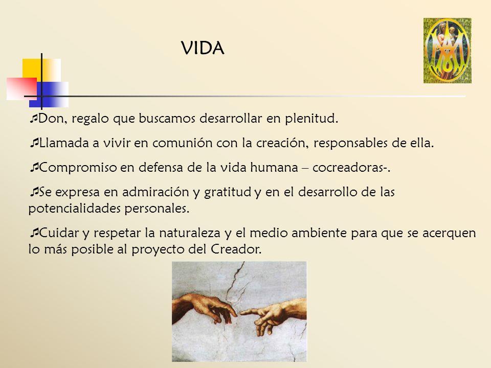 VIDA Don, regalo que buscamos desarrollar en plenitud. Llamada a vivir en comunión con la creación, responsables de ella.