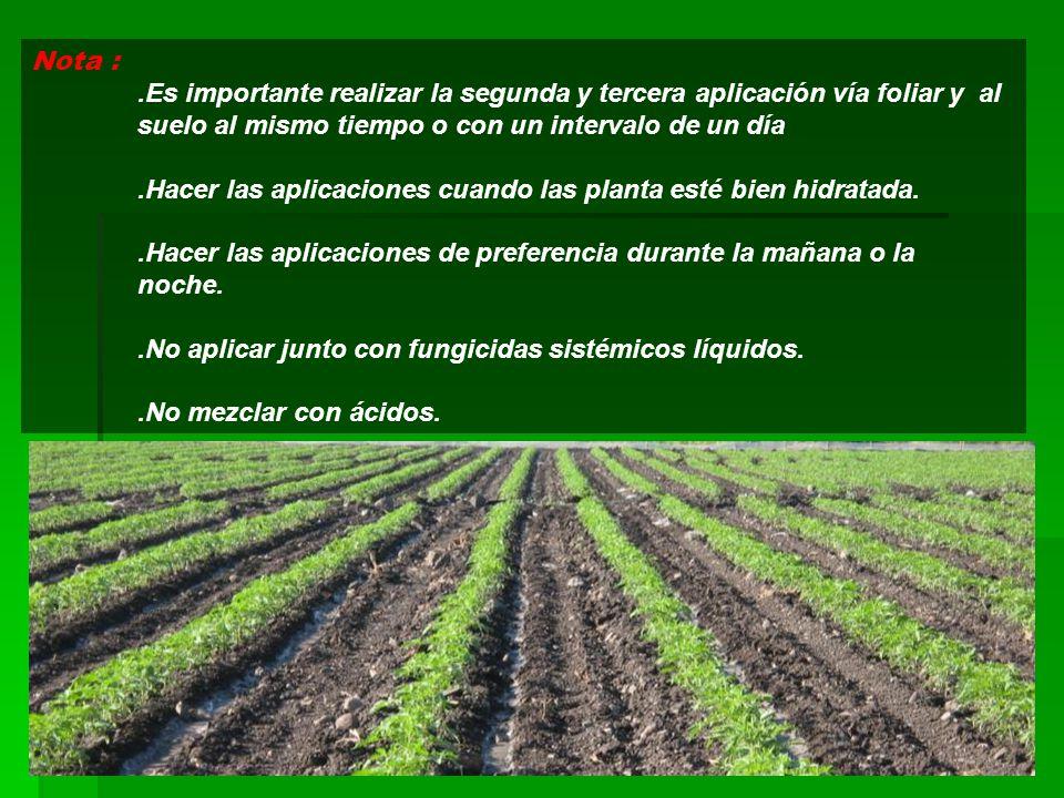 Nota : .Es importante realizar la segunda y tercera aplicación vía foliar y al suelo al mismo tiempo o con un intervalo de un día.