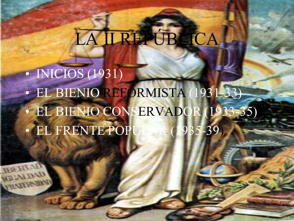 LA II REPÚBLICA INICIOS (1931) EL BIENIO REFORMISTA (1931-33)