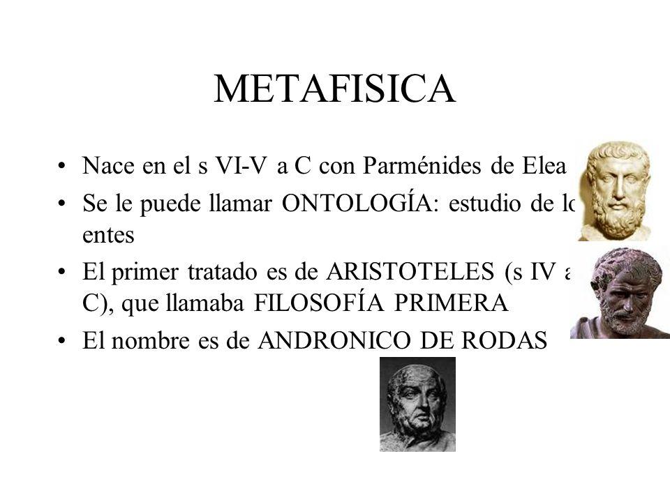 METAFISICA Nace en el s VI-V a C con Parménides de Elea