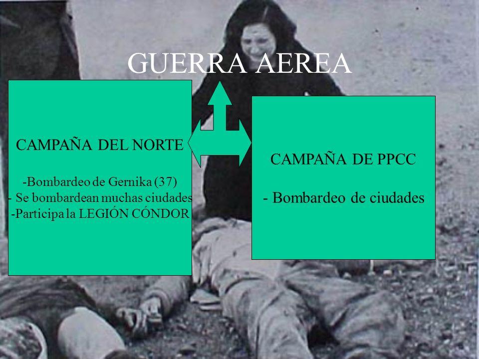 GUERRA AEREA CAMPAÑA DEL NORTE CAMPAÑA DE PPCC - Bombardeo de ciudades