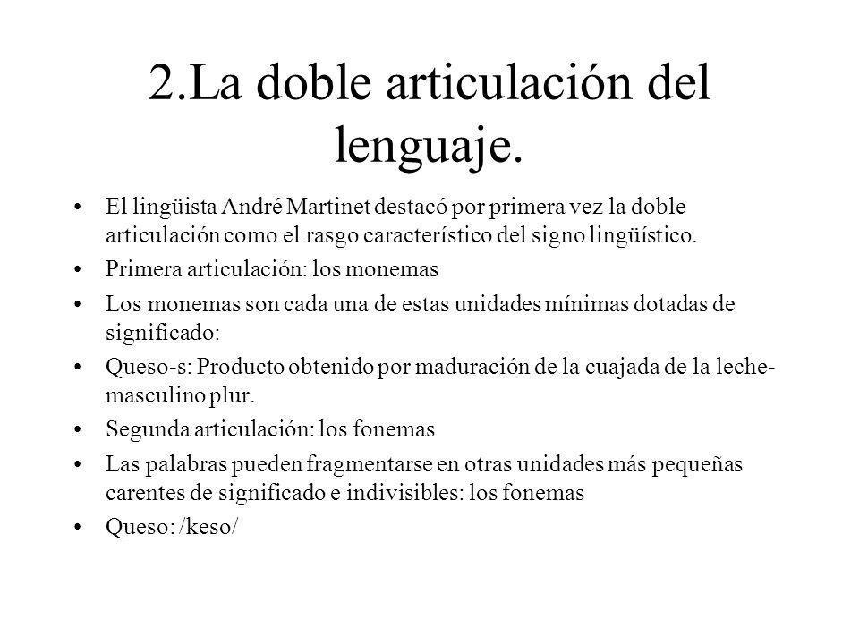 2.La doble articulación del lenguaje.