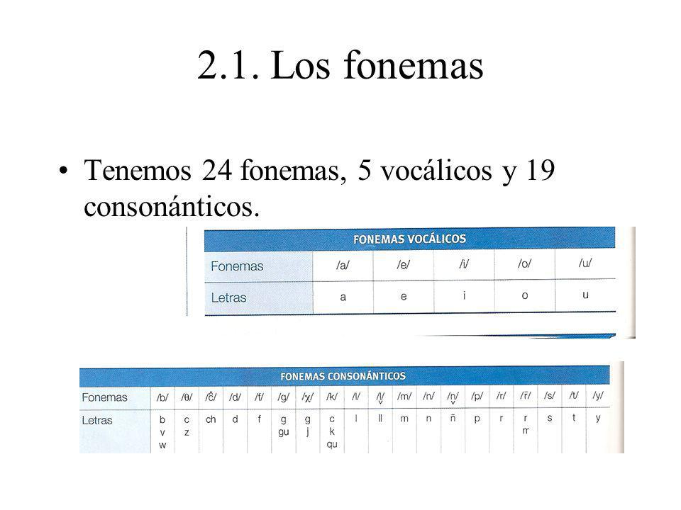 2.1. Los fonemas Tenemos 24 fonemas, 5 vocálicos y 19 consonánticos.