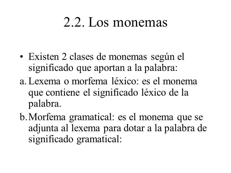 2.2. Los monemas Existen 2 clases de monemas según el significado que aportan a la palabra: