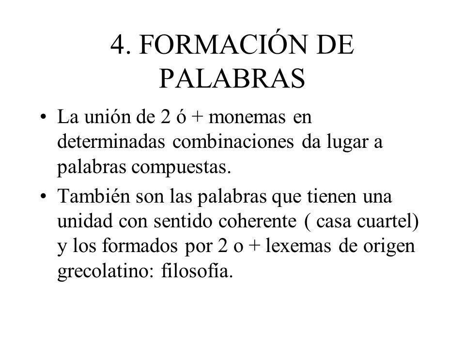 4. FORMACIÓN DE PALABRAS La unión de 2 ó + monemas en determinadas combinaciones da lugar a palabras compuestas.