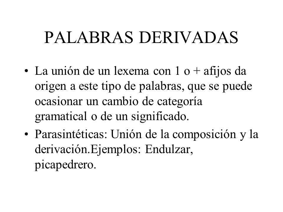 PALABRAS DERIVADAS