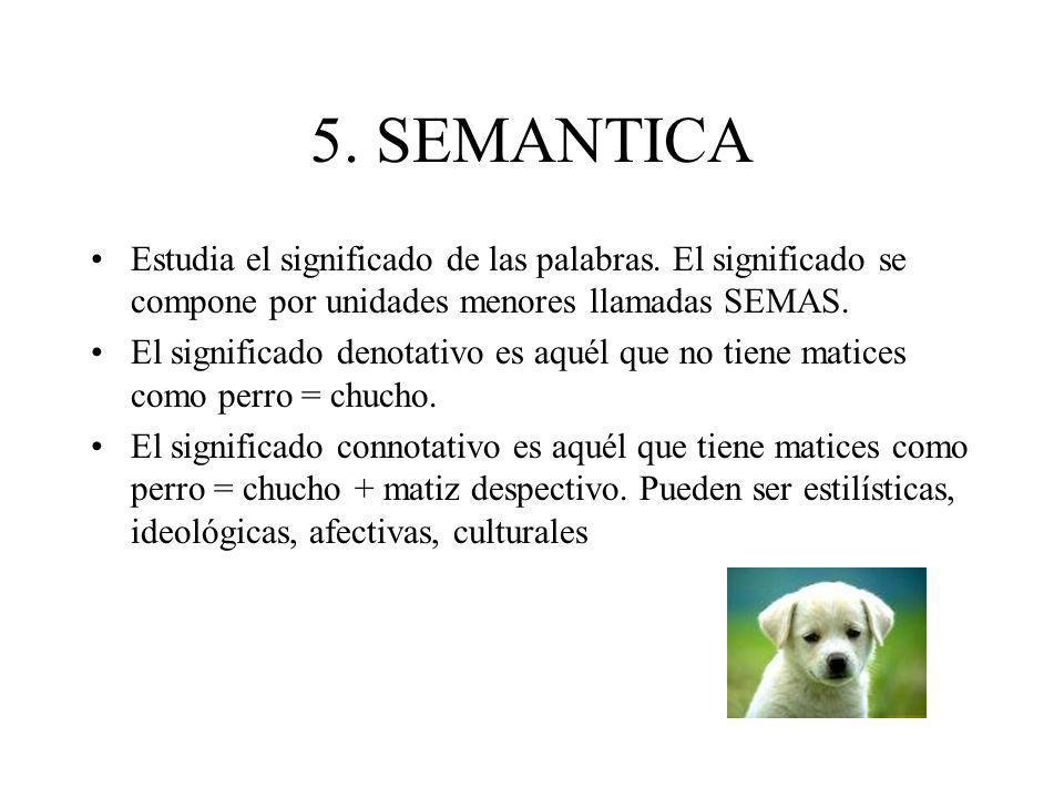 5. SEMANTICA Estudia el significado de las palabras. El significado se compone por unidades menores llamadas SEMAS.