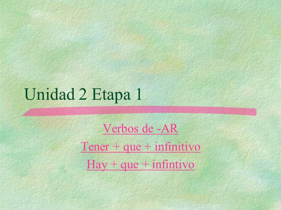 Verbos de -AR Tener + que + infinitivo Hay + que + infintivo