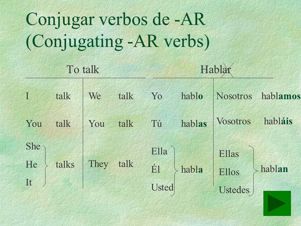 Conjugar verbos de -AR (Conjugating -AR verbs)