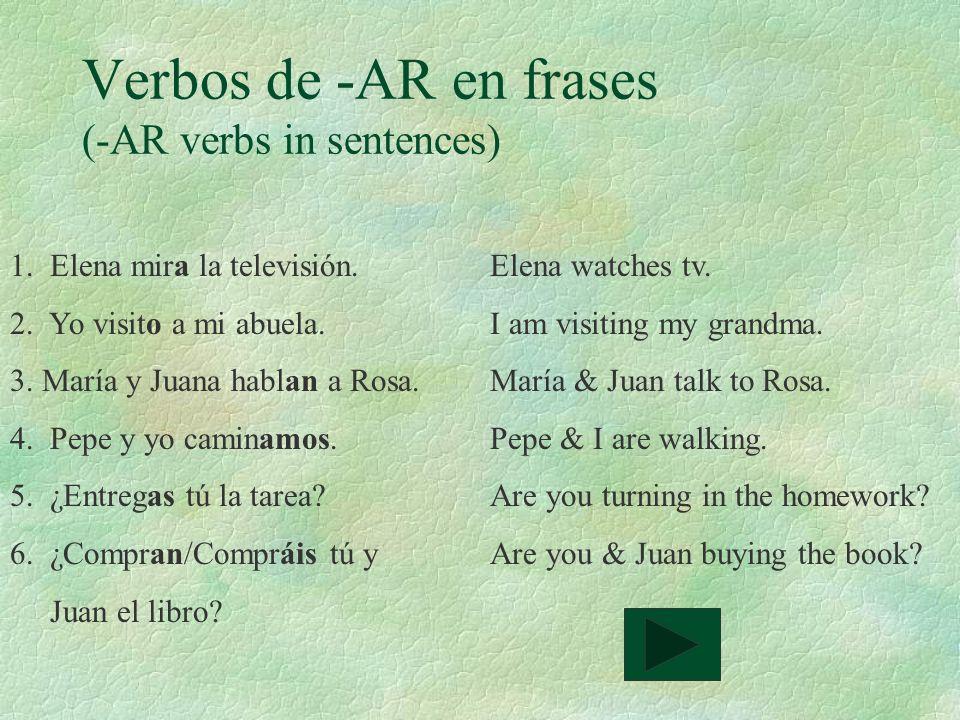 Verbos de -AR en frases (-AR verbs in sentences)